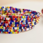 African mixed color spiral coil bangle