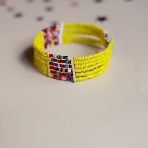 Yellow and Multicoloured beaded bangle