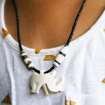 Rhino Pendant Cow horn Necklace