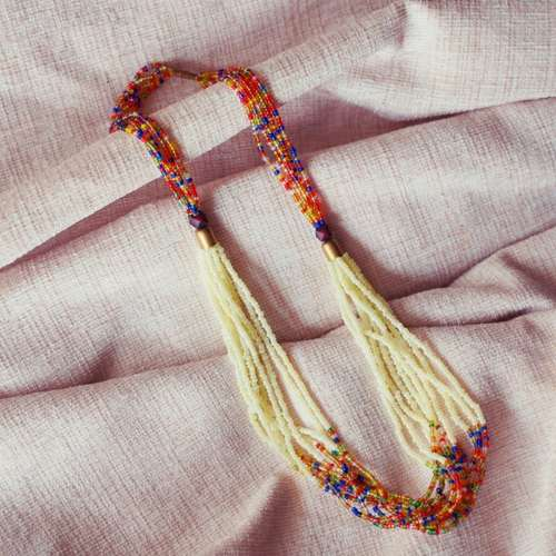 MULTISTRAND MAASAI BEAD NECKLACE, Off WHITE AND MULTICOLOURED
