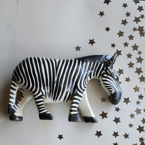 Hand carved wooden African zebra