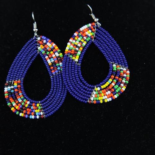 Authentic Maasai beaded  Earring blue