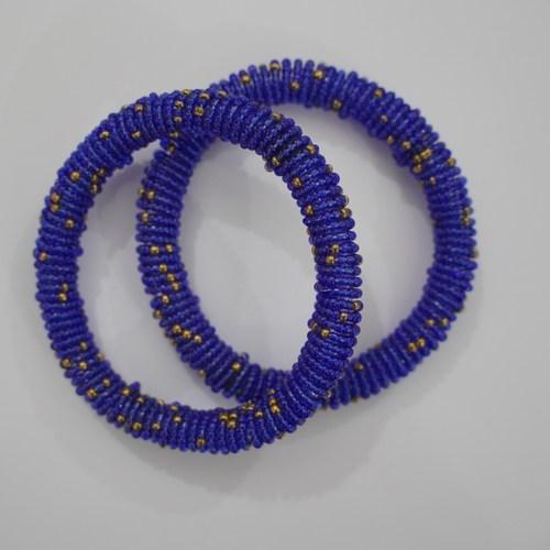 Blue & Gold Masai Bangle Beaded