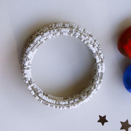 White Spiral Maasai Beaded Bracelet