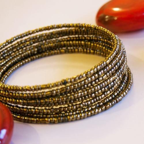 Golden Beaded Maasai Bangle
