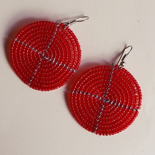 African Red  Round Earring