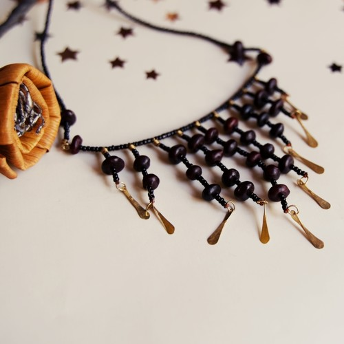 Brass and wooden pendant maasai Necklace