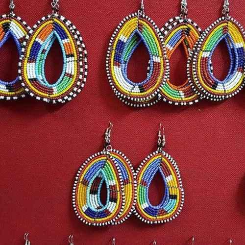Maasai Beaded Random Earrings Multi Colored