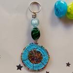 Blue masaai beaded  Keychain