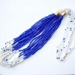 Blue and White Multistrand Masai Necklace