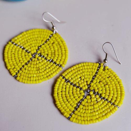 African maasai beaded round earrings yellow