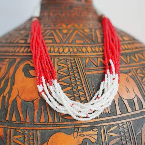 White and red Multistrand maasai Necklace