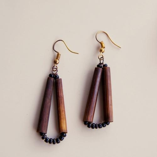 Dark Brown Bone Drop Hook Earrings with Black Maasai Beads