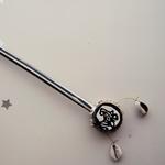 Zebra  Painted Small Maasai Bead Kenyan Spin Drum Pencil