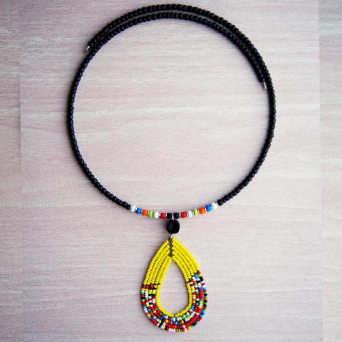Yellow and black Maasai Beaded Necklace
