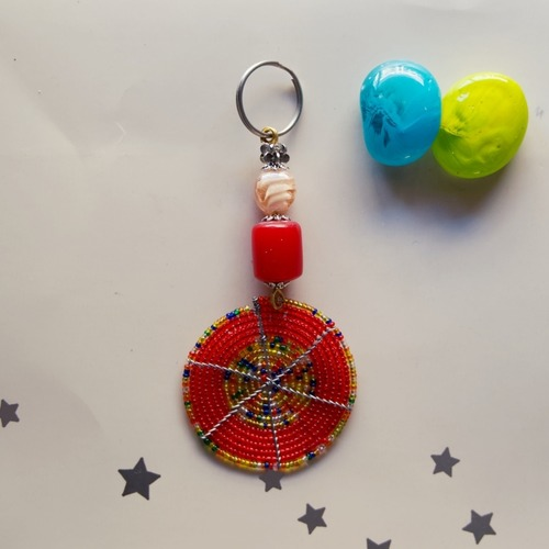 Red beaded keychain