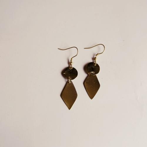 Diamond shaped Brass Earring