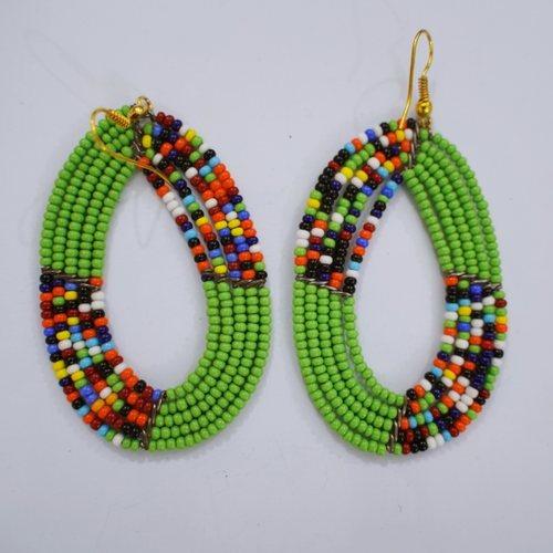 Green And Multicoloured Maasai Earring