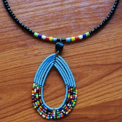 Light Blue Masaai beaded Necklace