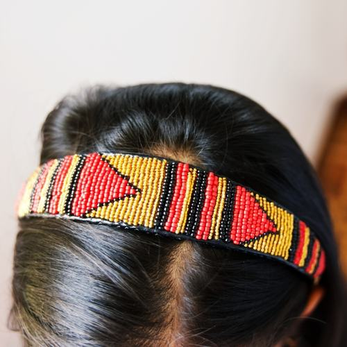Golden Red and black Maasai beaded head band