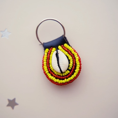 Beaded keychain Red and Yellow