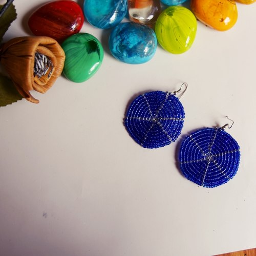 Blue Round Earring