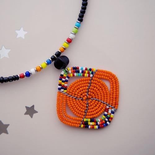 Kenyan Maasai Necklace Orange Pendant