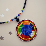 Classic Kenyan Maasai Necklace Multicoloured Round Pendant