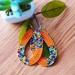 Orange Colour Beaded Hoop Earring
