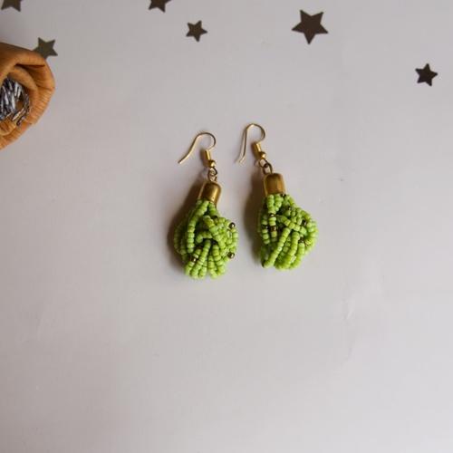 Light green Maasai beaded Earring