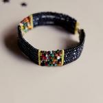 Black and multicolour Masai beaded