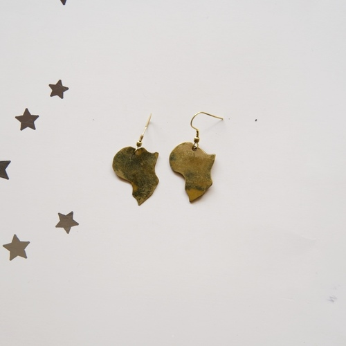 Brass African map Shaped Earring