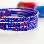 Blue beaded African coil bracelets