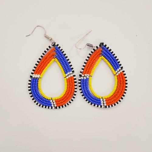 Elegant Blue and Orange  Colour Beaded Earring