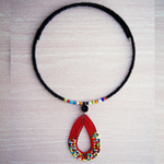 Maasai Beaded red Colour Pendant necklace