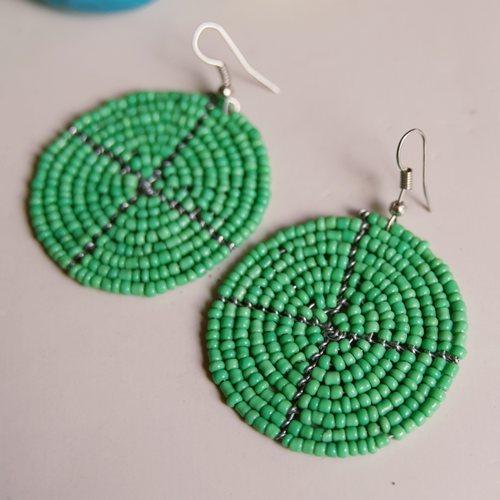 Green Round Beaded Earring