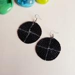 Round Black Maasai beaded earring