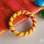 Yellow and orange African Maasai beaded tribal bangle