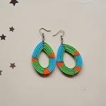 Elegant green  and blue Colour Beaded Earring