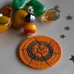 Orange and golden round Maasai beaded keychain