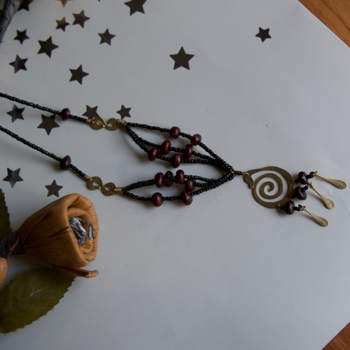 Masai Brass pendant wooden Beads Necklace