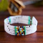 white and Multicoloured beaded bangle