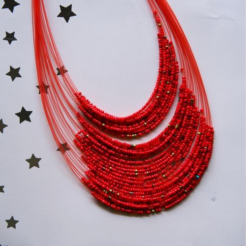 Multistrand red Maasai Necklace