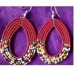 African Ethnic Tribal Masai Earring Red