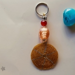 Light brown Maasai beaded Keychain