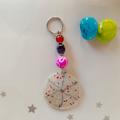 white and Multicoloured beaded keychain
