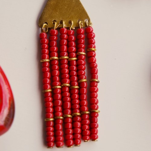 Elegant Red and Golden Colour Maasai Earring