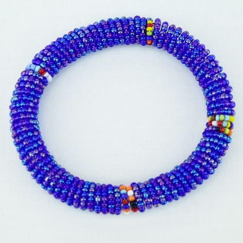 Blue & small multi colored beaded corssection bangle