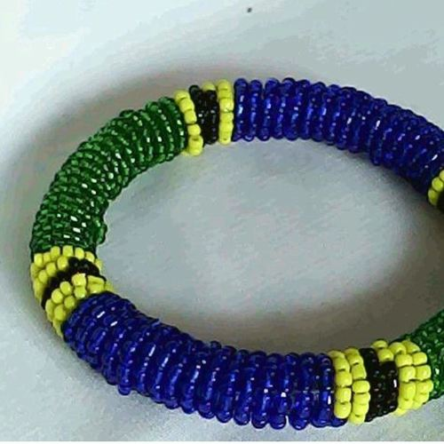 Blue and Green Beaded Bangle