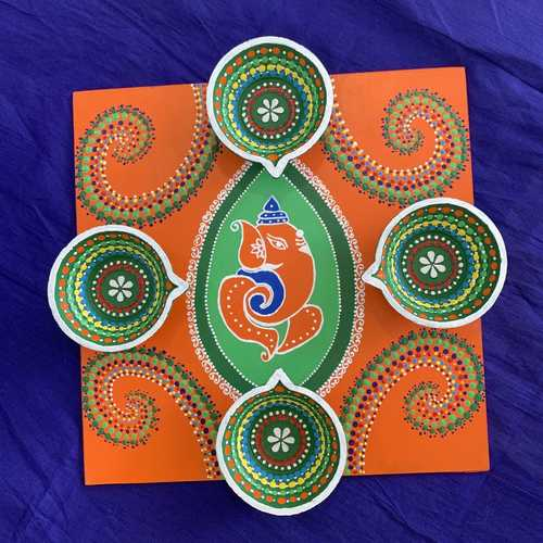 Diya tray - Ganesha (orange & green)